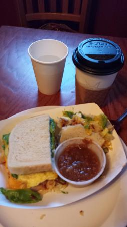 Seven Suns Coffee & Cafe: My breakfast sandwich - great salsa