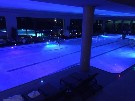 Interalpen-Hotel Tyrol: a candle light night swim with music and no lights!
