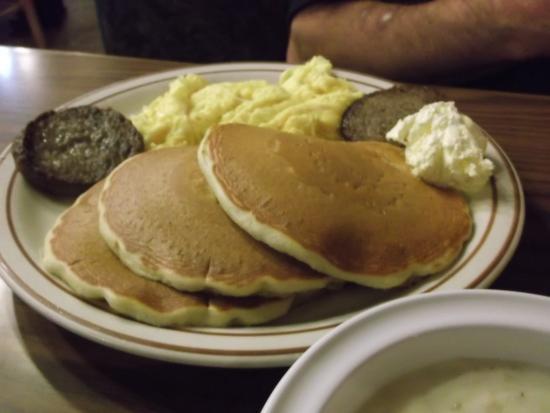 Log Cabin Pancake House Pancakes, Eggs,sausage