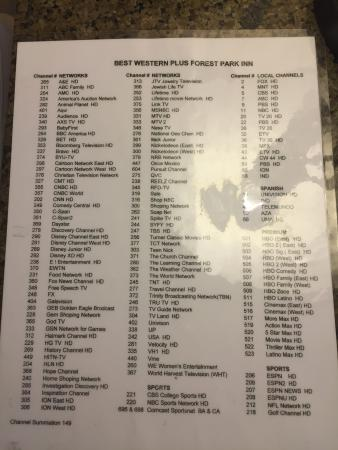 Laminate TV Channel list - Picture of Best Western Plus Forest Park