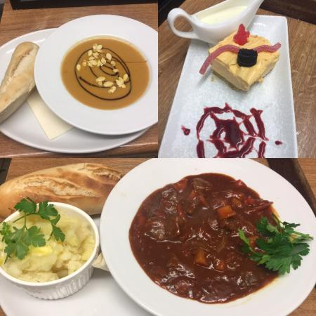 Parkend, UK: Halloween Special. Up kind Soup, Beef Goulash and Blood Orange Cheesecake