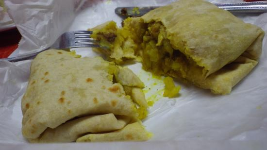 Chicken roti picture of singh 39 s roti shop bar george for Roti food bar