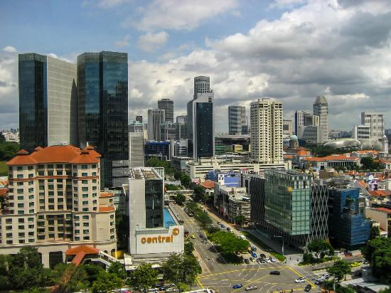 "The view from the window 18 floors ""Furama RiverFront"" in Singapore. Вид с окна 18 этажа  ""Furam"