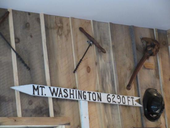 Sugar Hill, NH: Old Tools and Mt Washington sign