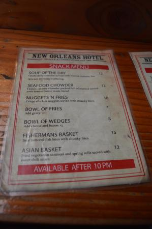 New Orleans Hotel: A quick feed menu