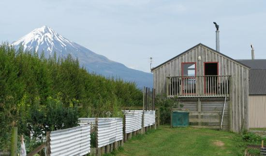 Barberry Hill: The Shed, with Mt Taranaki behind and vegetable garden in front