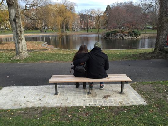 Walking Boston - Tours : The picture Ben took of us at the Good Will Hunting bench.