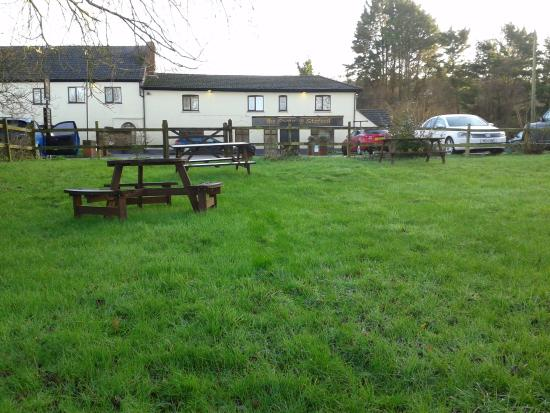 Stoford, UK: View of Pub from River Beer Garden