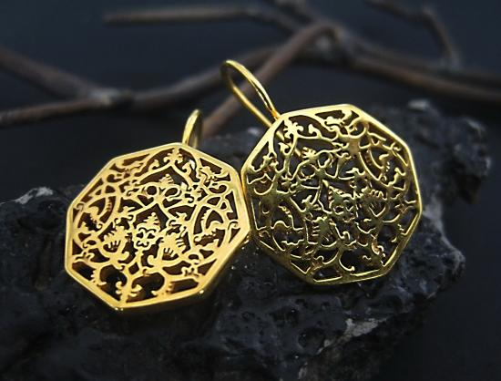 Arabesque Patterned Earrings In Silver And Gold Plated