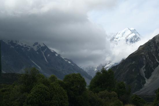 The Hermitage Hotel: View from our room with a storm blowing across Mt Cook