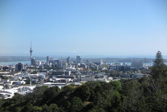 Views to the city center from the top of Mount Eden.