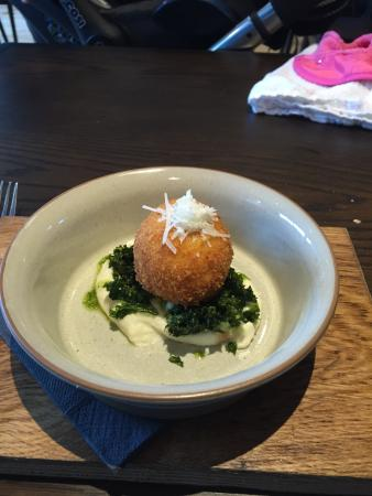 Moira, UK: Salted cod and crispy egg starter.  A must try.