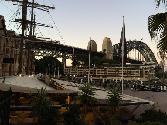 Ships Masts above the restaurants at The Rocks