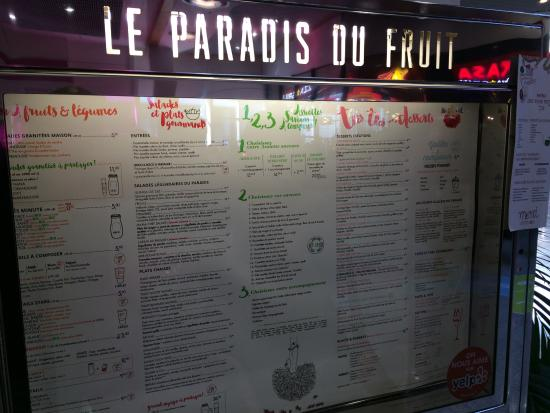 Menu photo de le paradis du fruit blagnac tripadvisor - Paradis du fruit george v ...