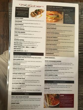 menu - Picture of Da Kitchen, Kahului - TripAdvisor