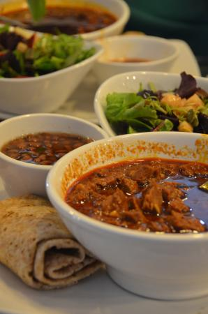 Desert Rain Cafe: Beef in red chile sauce, tepary beans, salad w/citrus dressing and whole wheat tortilla