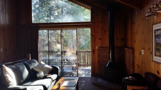 The Pines Resort: Chalet, living room facing pines