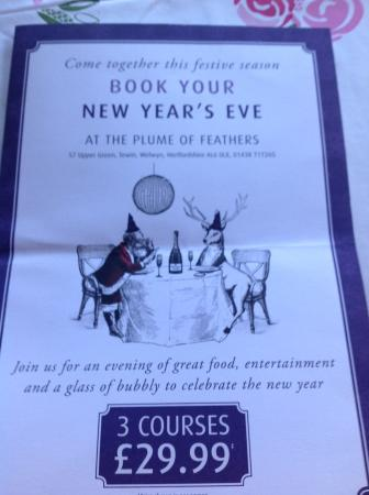 Plume of Feathers: Price per person excluding wine etc