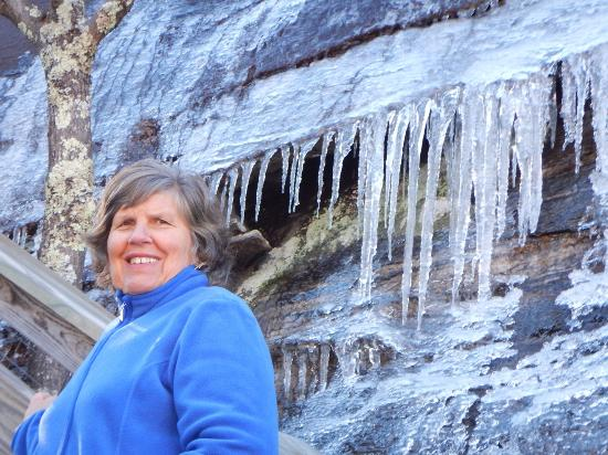 Chimney Rock State Park : The small falls were all frozen in January