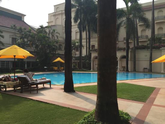 The Oberoi Grand: Oberoi Grand central court with pool