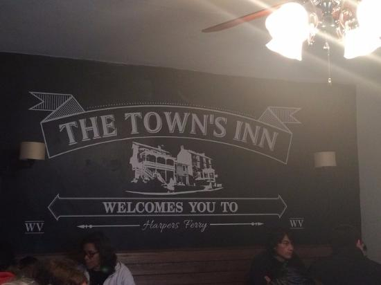 The Town's Inn: A sign in the eatery