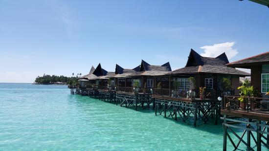 Mabul Water Bungalows: The row of water bungalows