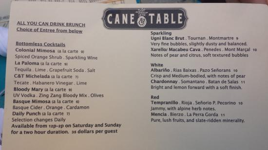 Cane And Table Bottomless Brunch Menu