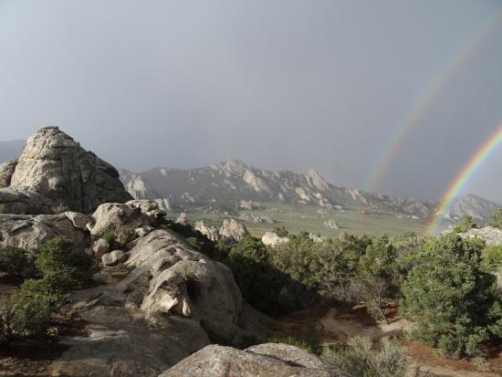Almo, ID: Rainbow and rocks