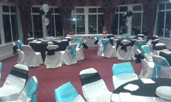 Fitzgerald's Woodlands House Hotel: The room set up for my party with my colour scheme!