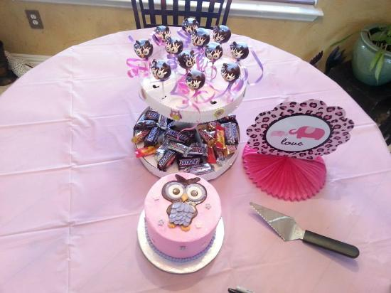 Owl cake and cake pops for baby shower Picture of The Jenny Layne
