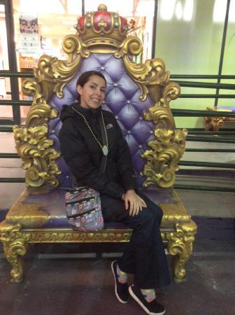 Blaine Kern's Mardi Gras World: Sitting on a prop for float.