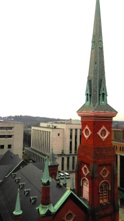 Crowne Plaza Harrisburg-Hershey: View from room - Church with loud bells