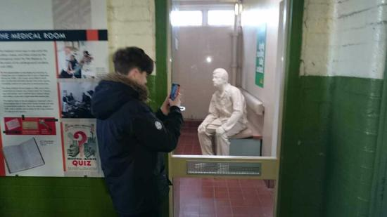 Overton, UK: Miner awaiting First Aid.