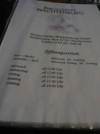 Öffnungszeiten Burgschänke - Bild von Burgruine Wachtenburg ...