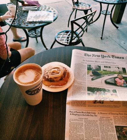 Inlet, NY: cinnamon bun and latte