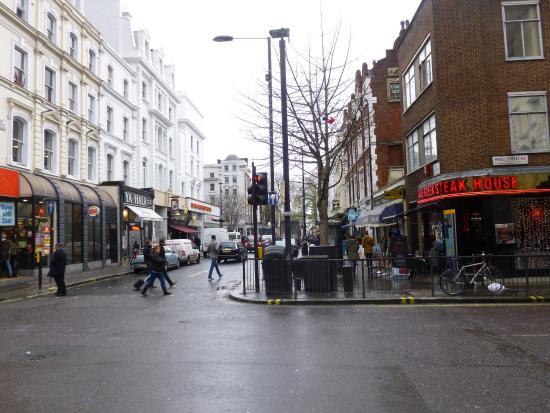 Road from Paddington station to Athena Hotel