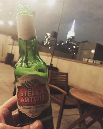 The GEM Hotel Chelsea: Roof Terrace with a Stella from the bar