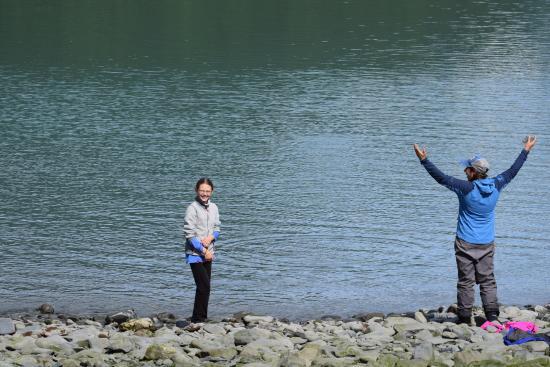 Kayak Adventures Worldwide - Day Trips: Chelsea teaching the Kid to skip rocks- best guide ever!