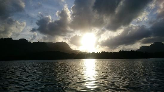Kosrae, Micronesia: Sunrise over Yela forest as seen by boat