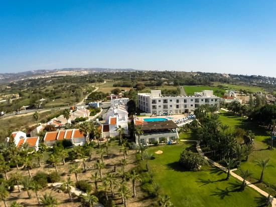 Helios Bay Hotel: Aerial photo showing our gardens and swimming pool