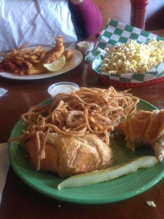 Landrum, SC: Honey child chicken salad and Red onion straws