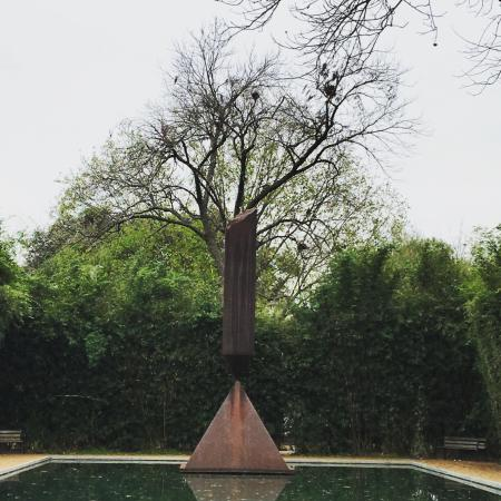 Rothko Chapel: Barnett Newman sculpture outside the chapel
