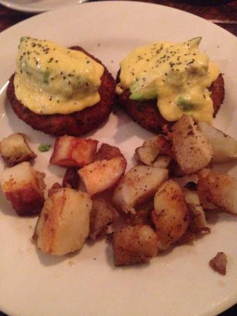 Winchester, NH: My crab cakes topped with avocado and rosemary hollandaise!