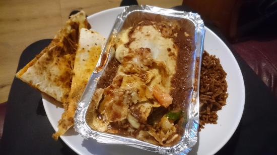 Wickford, UK: Barbacoa Lamb Enchilada, Chorizo Quesadilla and Mexican Rice