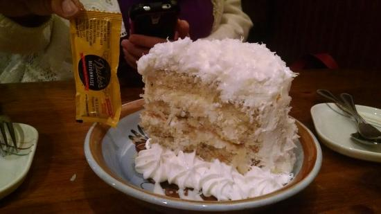 Clyde, NC: Coconut cake,(mayo packet in picture for scale)