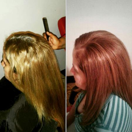 Dunmore Town, Harbour Island: Hair color..Blow & Thermal..Before and after