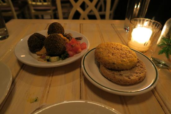 Chalk Point Kitchen: FRESH CHICKPEA FALAFEL tahini, hummus, olives. GF