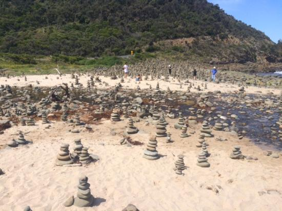 Great Ocean Road: An unusual field of stacked rocks to which we contributed our stack of river stones
