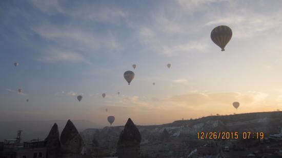 Balloons over Cappadocia, view from Fairy Chimney Inn