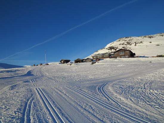 Bergsjostolen fjellstue: Bergsjøstølen i januarsol